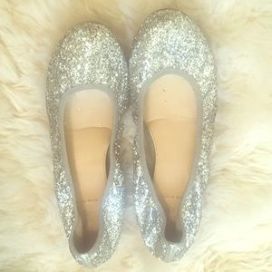 J. Crew silver glitter ballet flats